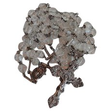 Huge 78 gr 38 inches Antique Sterling Silver and Colorless Crystal Catholic Rosary