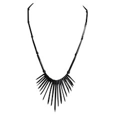 Vintage Hawaiian untreated Black Coral graduated Spike Twigs Necklace
