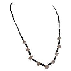 Vintage Hawaiian Black Coral and Pink Quartz Necklace
