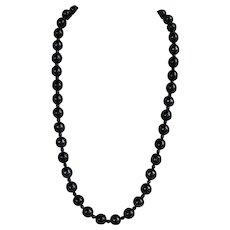 Antique chunky hand carved Black Onyx Necklace