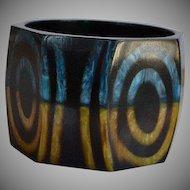 Huge Vintage Designer chunky faceted layered swirl lucite Statement Bangle Bracelet