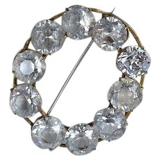 Big Antique Victorian faceted Crystal and Brass Oval Brooch - as is