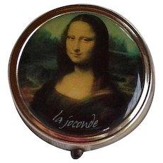 Vintage Pill Box with Mona Lisa La Gioconda master piece copy reproduction