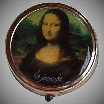 Vintage Pill Box with Mona Lisa La Gioconda master piece copy reproduction