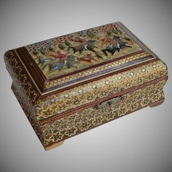 Old Persian Khatam Marquetry wood inlay hand painted Hunting Scene Jewelry Trinket Box