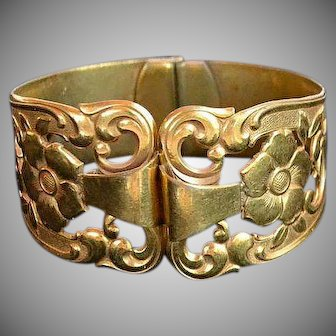 Antique Victorian gold filled 18 carat karat Engraved Flowers and Leafs open work hinged Bracelet