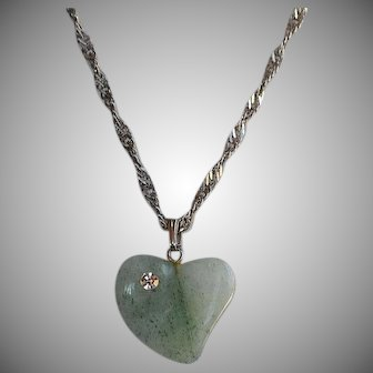Vintage hand carved Green Aventurine puffy Heart Pendant encrusted clear rhinestone 18 k white gold plated chain Necklace