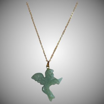 Vintage hand carved green Aventurine Winged Lion or Bird Pendant Necklace