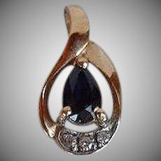 smallVintage handmade 14 karat carat yellow Gold Diamonds Blue Sapphire Pendant