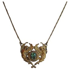 Antique Arts and Crafts Brass Necklace with 2 angels or cherubs