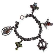 Vintage textured metal and glass Scottish Irish charm Bracelet