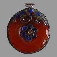 Antique Chinese Carnelian & Cloisonne Enamel jeweled circular Pendant