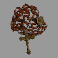 Unusual Antique Brass & Amber Glass Sacred Heart Catholic Rosary
