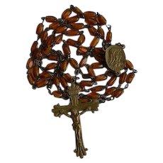 Unusual Antique Brass & Amber Glass Sacred Heart Catholic Rosary