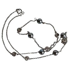 Dainty Sterling Silver 925 Grey Peacock Cultured Pearl Bezel Set Clear Gemstone Necklace