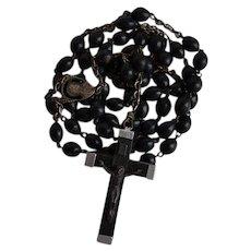 Antique monk habit or belt style Black Wood Catholic Rosary