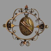 Antique Victorian tricolor Gold 10 karat carat KT & brass Dangle Brooch Pin