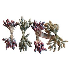 Antique unused set France Paris Wax Flower Stamens for craft with original tag