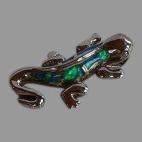 Sweet handmade Sterling Silver 925 Black opal inlay Lizard Gecko Pendant