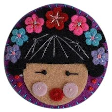Handcrafted Japanese or Chinese Girl face head fabric brooch pin