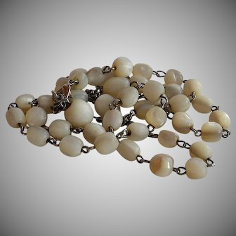 Antique upcycled Mother of Pearl Necklace made from an antique rosary
