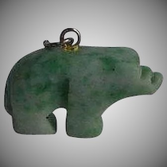 Hand carved Two tones White & Apple Green Jade Jadeite Bear Charm or Pendant with sterling silver 925 bail