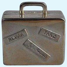 Miniature silver tone metal Traveling Suitcase