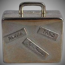 Miniature silver tone metal Traveling Suitcase