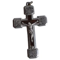 Rare Antique Roma Italy Signed GJM 950 silver 4 ways Via Crucis Crucifix Cross Smiling Skull Bones pendant with wood inlay and amazing details