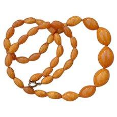 Antique Art Deco Egg Yolk Wax Bee Baltic Amber Graduated Necklace 27 GR