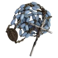 Vintage blue glass Catholic Rosary
