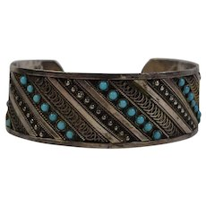 Vintage handmade Middle East pure sterling silver 1000 Cuff Bracelet with encrusted Persian turquoises