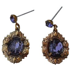 Antique Victorian stamped gold tone metal Amethyst Paste dangle Earrings