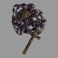 Antique brass & violet molded glass Sacred Heart Catholic Rosary