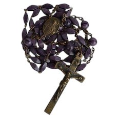 Antique brass & violet molded glass Sacred Heart Catholic Rosary