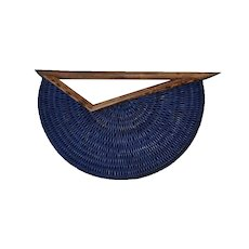 Huge Vintage handmade woven blue dyed bamboo wood Statement Modernist Brooch Pin