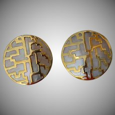 Large handcrafted Gold Plated Abalone Shell Earrings modernist labyrinthe design