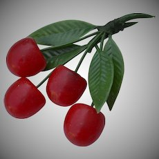 Huge WWII era bunch of Red Cherries Green Leafs soft plastic lucite Brooch Pin