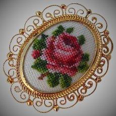 Vintage handmade petit point rose & green leafs cameo Brooch Pin filigree frame