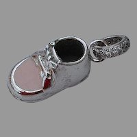 handmade 10 gr Sterling Silver 925 Pink enamel Baby Girl Shoe Charm or Pendant with encrusted zircon
