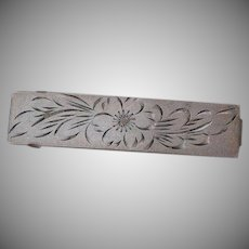 Antique Victorian hand etched flower design Streling Silver 925 Hair Barrette Pin