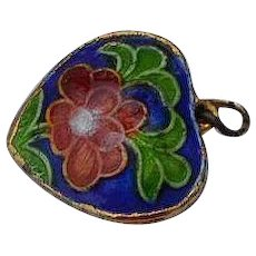 Vintage Chinese cloisonne enamel Puffy Heart Pendant or Charm with rose & leafs