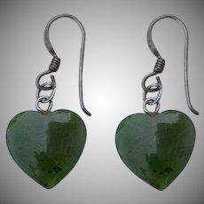 Hand carved Green Jade Jadeite puffy heart Earrings 925 sterling silver hooks