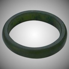 Hand carved semi - translucent spinach green jade jadeite Band Ring size 5.5