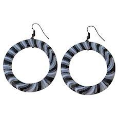 Huge clear white black layered Plastic Statement Hoop Earrings