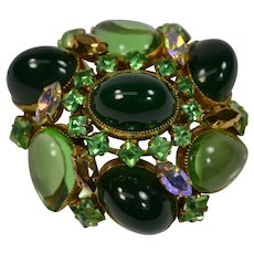 Huge Vintage Schreiner New York high domed open back green glass convertible Brooch Pin & Pendant