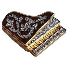 3D high end signed Nina Ricci figural gold metal Piano Brooch Pin pave rhinestones