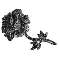 Huge Art Deco handmade sterling silver 925 Rose Flower 3D Brooch Pin pave marcasite & ruby gem