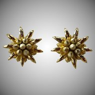 Huge vintage 70's gold tone plastic layered flower dimensional statement clip on earrings