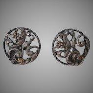 Set 2 pcs Antique Georgian hand carved cut steel Buttons floral design